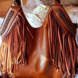 VERY COOL Leather Fringed pocket book